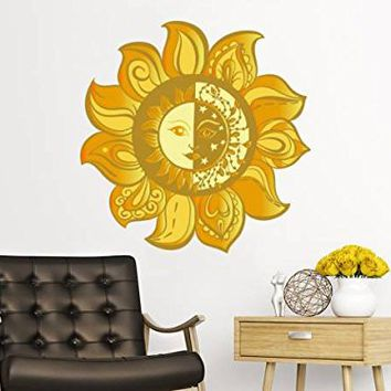 Sun And Moon Wall Decal Full Color Ethical Stars Symbol Colorful Vinyl Decals Stickers Sunshine Bohemian Boho Decor Bedroom Nursery Art EN15 (17x17)