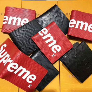 Supreme Monogram Print Women Fashion Leather Zipper Wallet Purse G-A-GHSY-1