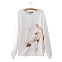 ZLYC Embroidery Horse Casual Sweatshirt for Girls