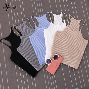 Korean Brand Summer Womens Short Cropped Feminino Knitted Tank Tops New 2016 Spring Fashion Ladies' Casual Knit Crop Top XQ_T01