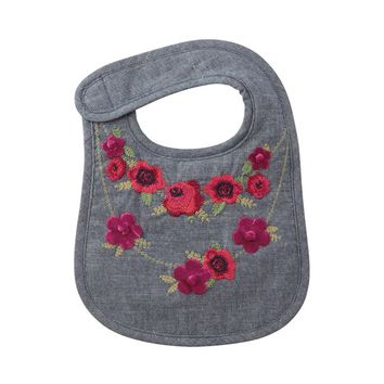 Chambray Floral Embroided Baby Bib