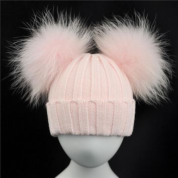 WENDYWU Baby Winter Knit Hat With Two Fur Pompoms Boy Girls Natural Fur Ball Beanie Kids Caps Double Real Fur Pom Pom Hat for Ch