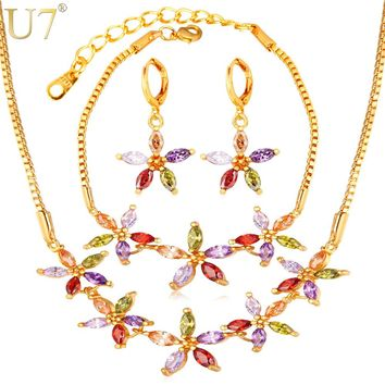 U7 Luxury Cubic Zirconia Jewelry Set For Women Wedding Accessories Colorful Star Bracelet Earrings Necklace Sets For Brides S768
