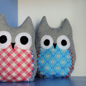 Small Owl Pillows Pair - Nursery Decoration - Owl Toy Pillow - Baby Shower Gift - Baby Bedding Decoration Owls - baby 1st birthday