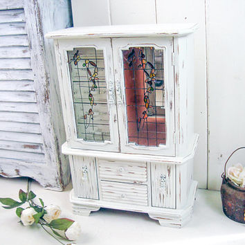 Vintage White Musical Jewelry Box, Tall Antique White Vintage Jewelry Holder, Shabby Chic Jewelry Chest with Floral Glass Art, Gift Ideas