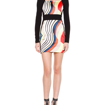 Long-Sleeve Fitted Colorblock Dress, Size: