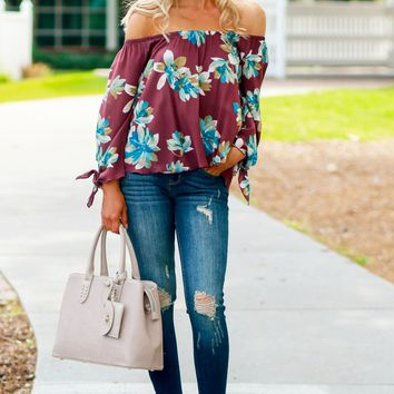 Off The Shoulder Flower Top Burgundy