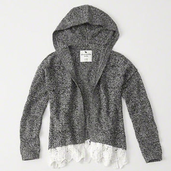 girls lace hem hooded cardigan | girls clearance | Abercrombie.com