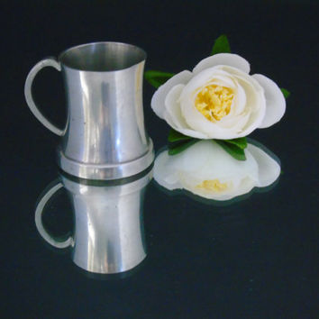 Mini Tankard Stein English Pewter Glass Bottom Vintage Miniature Pewter Mug Made in England