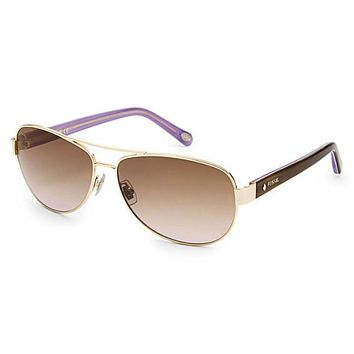 Fossil - Jacey Aviator Light Gold Sunglasses