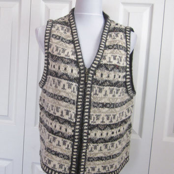 Vintage Fair Isle Sweater Vest Sleeveless Sweater  Knit Vest Womens Large St Johns Bay Wool Cotton Acrylic Blend