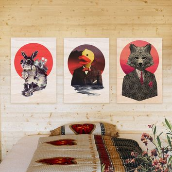 Animal Set Of 3 Wood Prints, 3 Panel Wall Art, Cool Animal Prints Set