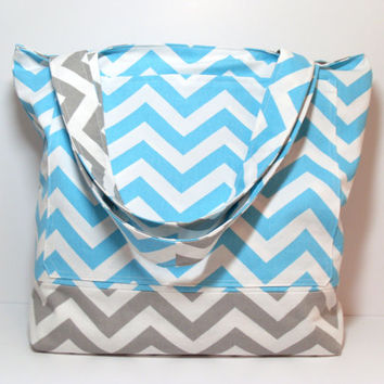 Canvas Beach Bag - Ready To Ship - Aqua Gray - Chevron - Summer Tote Bag