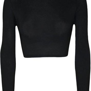 Sexy ColorfulLong Sleeve Womens TurtleNeck Crop Top