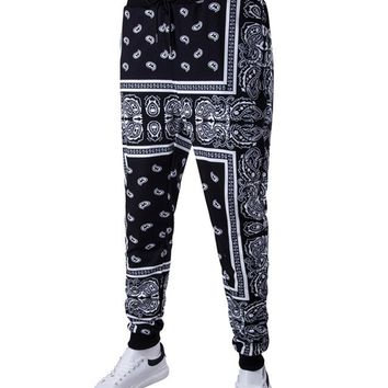 Casual Paisley Tribal Printed Drawstring Slim-Leg Men's Casual Pant
