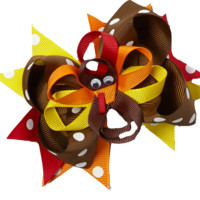 Turkey Thanksgiving Boutique Bow