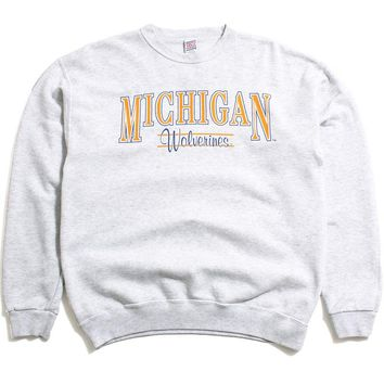 University of Michigan Simple Text & Script Soffe Crewneck Sweatshirt Ash Grey (Large)