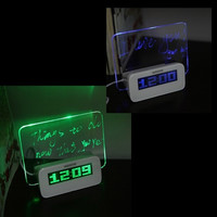 Fluorescent Message Board Clock Alarm Temperature Calendar Timer USB Hub Green Light LED Digital Desktop Director Table Clocks = 1697060868