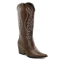 Brown Faux Leather Stitched Cowboy Boots Boots Catalog:women's winter boots,leather thigh high boots,black platform knee high boots,over the knee boots,Go Go boots,cowgirl boots,gladiator boots,womens dress boots,skirt boots,pink boots,fashi