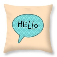 "Hello Throw Pillow 14"" x 14"""