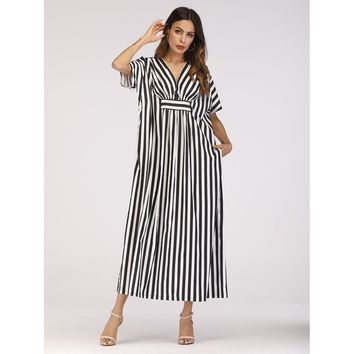 Hidden Pocket Stripe Longline Dress