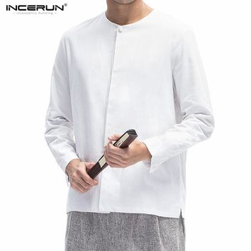 Cotton Linen Shirts Men Crew Neck Long Sleeve Shirts Chinese Traditional Style Slim Fit Solid Shirts Tangzhuang Homme Clothing