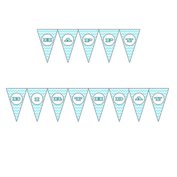 Printable Happy Birthday Party Banner – Aqua Chevron – Personalized Party Decoration - Triangle Pennant Party Printable – INSTANT DOWNLOAD