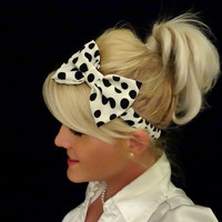 White and black big polka dot bow stretch by VintageBowBoutique