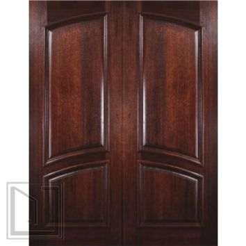Prehung Entry Double Door 96 Wood Mahogany 2 Panel Square Top Solid