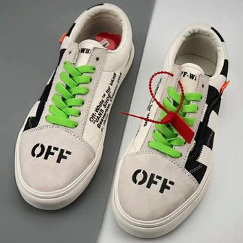 VANS & OFF-WHITE Joint Series Men's and Women's Flat Shoes Canvas Shoes F-CSXY white