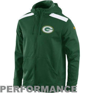 Nike Green Bay Packers Shield Nailhead Full Zip Sideline Performance Hoodie – Green