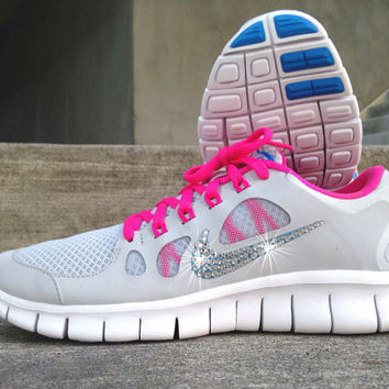 e2811f7ed41f Womens Nike Free Run 5.0 Running Training Jogging Shoes Customized with  Swarovski Elem