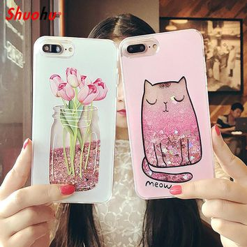 Shuohu Quicksand Dynamic Liquid Phone Cases for Iphone 6 6S Plus Case Silicone Cartoon Flower for Iphone 7 Plus Case Luxury PC