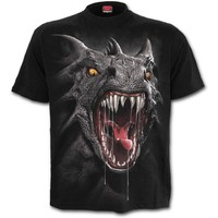 Womens ROAR OF THE DRAGON Front Print T-Shirt Black Shop Online From Spiral Direct, Gothic Clothing, UK