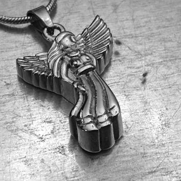 Angel Cremation Locket, Angel Urn, Wing Urn Locket, Ashes Holder Necklace, Cremation Locket, Memory Locket, Cremation Jewelry