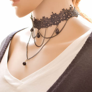 Shiny Gift Jewelry New Arrival Forever21 choker Stylish Ornate Simple Design Chain Crochet Faux Gem Accessory Necklace [7786550663]