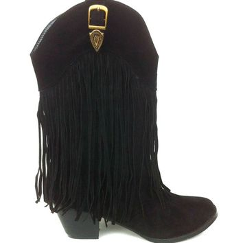 Fringe Cowboy Knee High Boot In Black | Thirteen Vintage