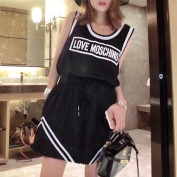 """""""Moschino"""" Women Casual Fashion Multicolor Letter Sleeveless Vest Shorts Set Two-Piece Sportswear"""