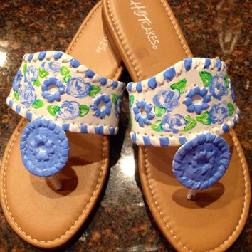 Hand painted sandals inspired by Jack Rogers. Perfect for a Tar Heels Fan !!