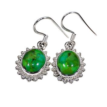 Sterling Silver Green Turquoise Earrings