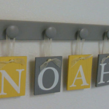 Wall Decor Name Sign in Yellow and Gray Personalized for NOAH with 4 Wooden Pegs in Grey Baby Boy Gift