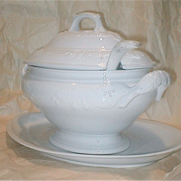 Antique English Ironstone Soup Tureen - George Jones - Stoke on Trent - large Soup Serving and Ladle White Fuschia Bloom Design