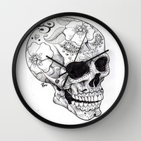 Skull Candy Wall Clock by Pink Berry Pattern | Society6