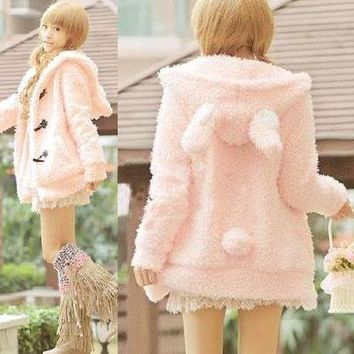 L365 Women's Girls Lolita Cute Bunny Ears Sherpa Hoodie Jacket Coat Outerwear S