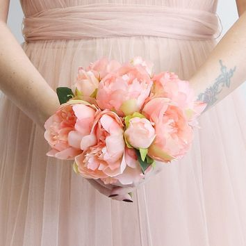 Coral Peony Silk Flower Bouquet - 9""