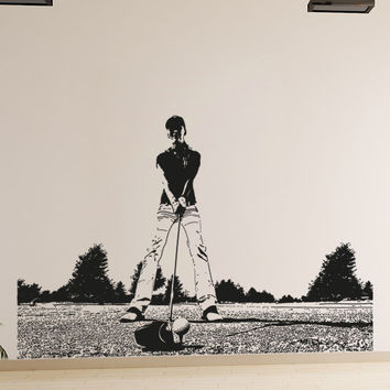Vinyl Wall Decal Sticker Female Golfer #5134