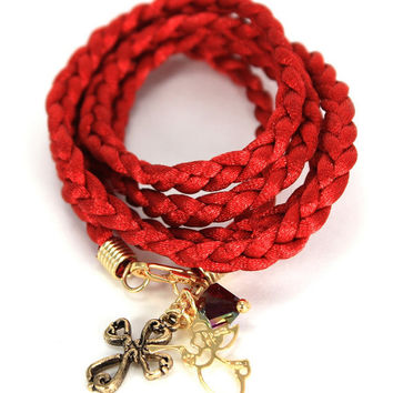 Satin Braided Cord Wrap Bracelet - Carmine Red with Gold Victorian Cross, Angel, and Garnet Swarovski Crystals