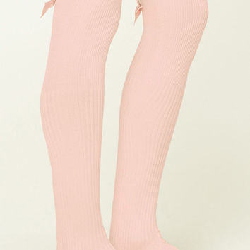 Ribbed Knit Knee High Socks