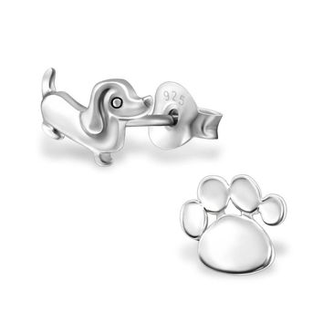 925 Sterling Silver Dog Paw Print Earrings