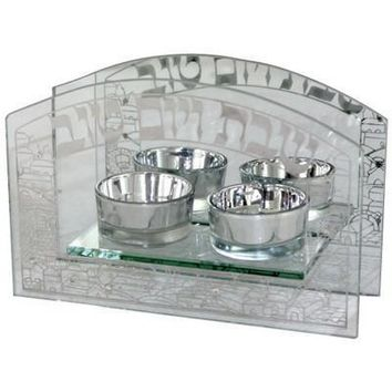 Glass Candlesticks 18X12 Cm - With Metal Plate